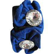 80's Black& Royal Blue Signed TREASURES Italian Leather Suede & Crystal Cuff Bracelet