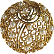 Vintage Trifari Faux Simulated Pearl & Textured GP Brooch