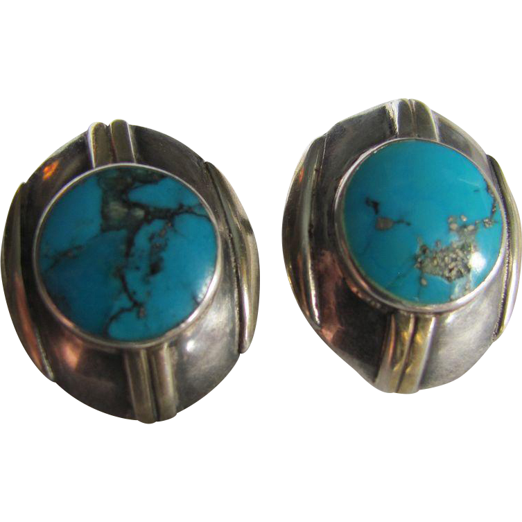 Vintage MODERNIST Style  Genuine Turquoise Pierced Earrings made with  Sterling Silver Metal