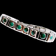 ART DECO Jakob Bengel MODERNIST Chrome & Green Galalith Link Bracelet