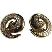Vintage Givenchy Swirls Design Pave Rhinestone GP Clip Earrings
