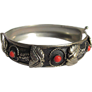 Victorian Genuine Coral Cabochon on Low Silver /Japanned Bangle bracelet  with *CERTIFIED Gemologist's Appraisal*$560
