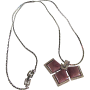 MODERNIST 1978 Givenchy Lucite & Pave Rhinestone Pendant on Silvertone Chain