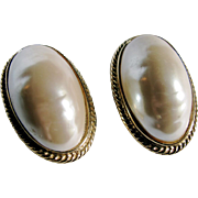 Vintage 22kt GP Givenchy Faux Mabe Pearl Large Scale Clip Earrings