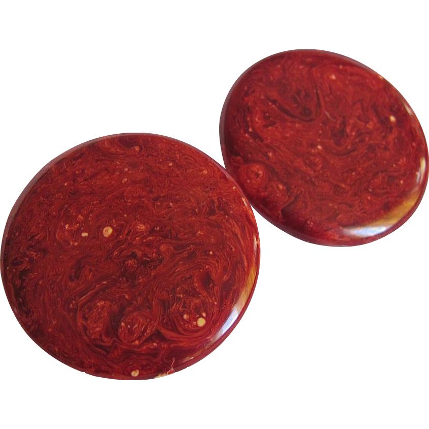 "ART DECO Burgundy Bakelite Disc Pierced Earrings- ""Mars"""