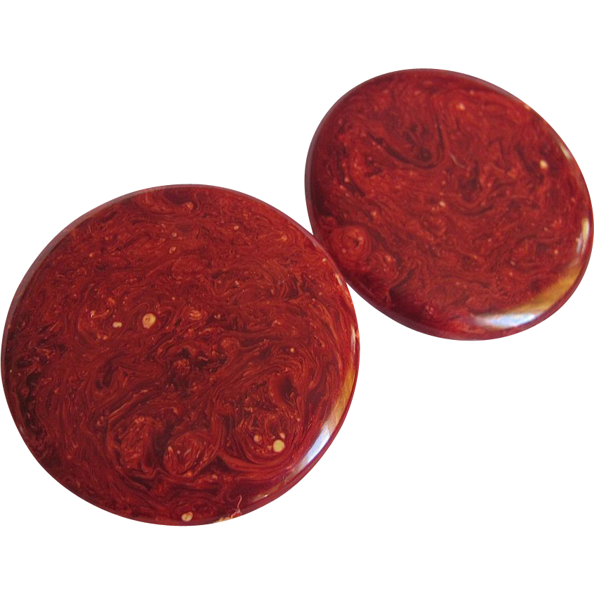 "ART DECO Burgundy Bakelite Disc Pierced Earrings- ""Mars"""