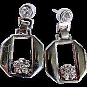 Mid Century  Silvertone & Rhinestone Pierced Earrings 2 FOR 1  offer