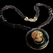 Vintage Hobe Green Bakelite Lion Doorknocker Brooch/Pendant with silk cord