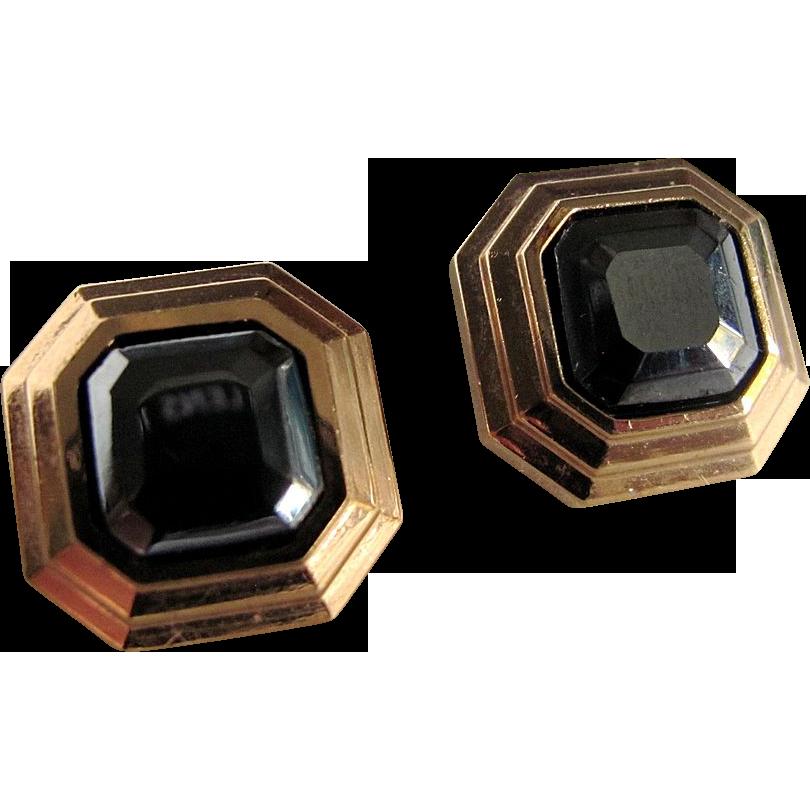 1970's Lanvin Square Pierced Semi Precious Hematite Gold Plated Earrings