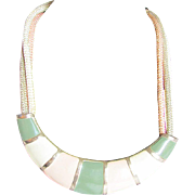Egyptian Revival Enamel and Brass piece with Silk Triple Cord Necklace