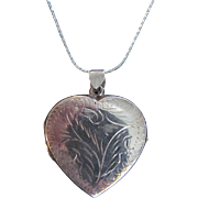 Vintage Sterling Silver 2 Panel Engraved Heart Locket on chain