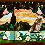 19th Century American stained glass of a sailboat on the water