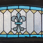 Long American stained glass arched transom