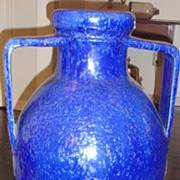 Big heavy sparkling blue  glazed galloway  handled jar