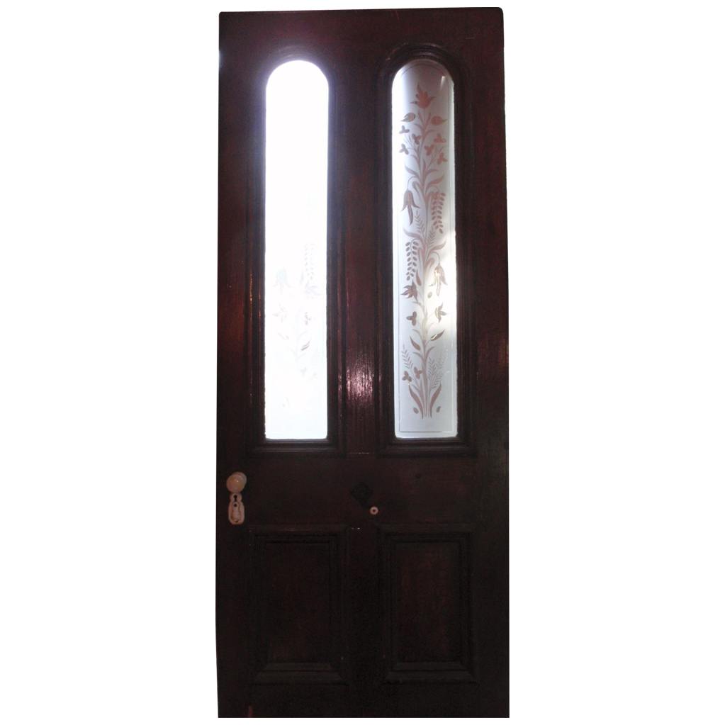 Victorian Door With Beautiful Etched Glass Panels From