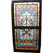 Victorian up and down stained glass window