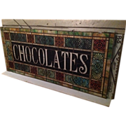 CHOCOLATES   -- Circa 1900 stained glass window from a pennsylvania candy store