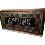 BONBONS Circa 1900 stained glass window from a Pa. candy store