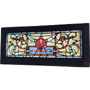Victorian stained glass transom  window with shell motif