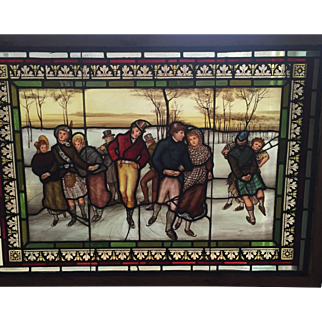 Spectacular Victorian stained glass  ice skating scene