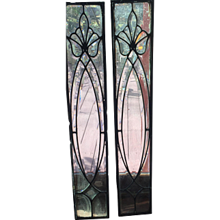 Matched pair of antique beveled  glass windows