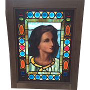 Outstanding lady  portrait stained glass window