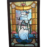 Swan lake stained glass landing window
