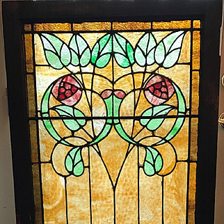 Rose stained glass  landing window