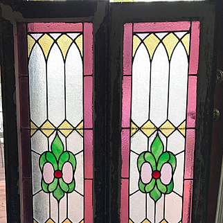 Matched pair of stained glass sidelights