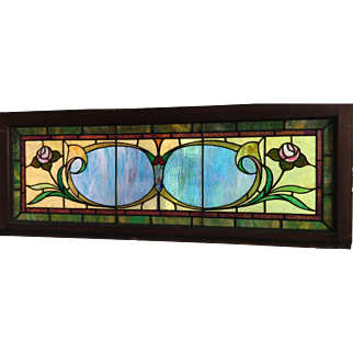 Victorian stained glass floral transom window