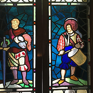 Pair of exceptional stained glass panels featuring what I assume  to be Scottish hero William Wallace