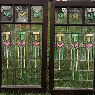 Pair of mission stained glass panels