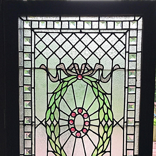 Wonderful  beveled and jeweled sparkling stained glass panel