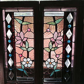 Great pair of stained and beveled stained  glass  windows