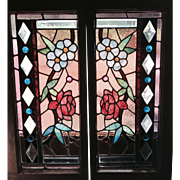 Great pair of Chicago stained and beveled  glass windows