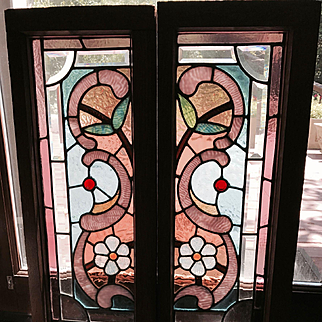 Great pair of Chicago stained and beveled stained glass windows