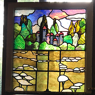 Nursery rhyme stained glass window. Jack and the beanstalk