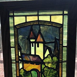 Picturesque stained glass castle scene