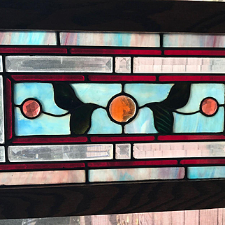 Nice jeweled pair of small stained glass windows