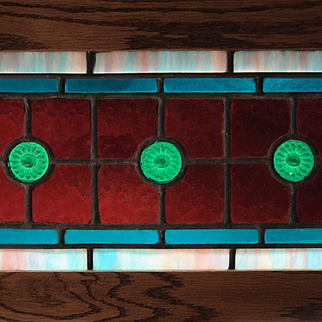 Small pair of jeweled  stained glass windows
