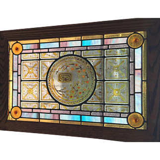 Matched pair of 19th century stained glass windows