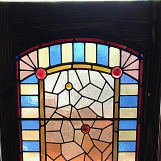 Victorian Eastlake stained glass landing window