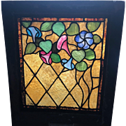 Wonderful floral stained glass window in the original frame