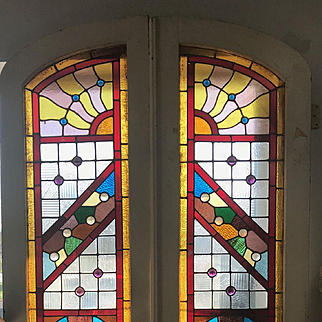 Great pair of 19th century stained glass Philadelphia doors
