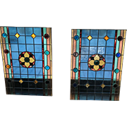 Matched pair Victorian stained glass windows