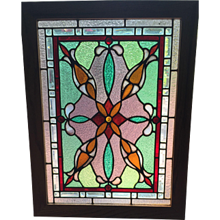 Vibrant antique stained glass window