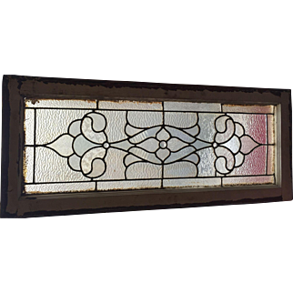Antique clear textured stained glass transom