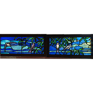 Pair of exceptional stained glass windows featuring the swallows of Capistrano