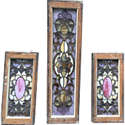 Super 3 pc. set of antique stained glass windows