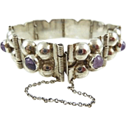 Pre-Eagle Old Mexico Sterling and Amethyst Bracelet